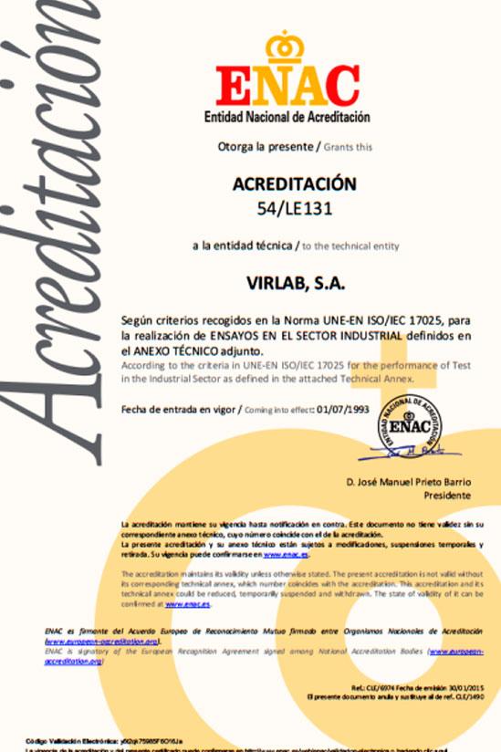 Acreditaciones ENAC laboratorio certificado ISO 17025