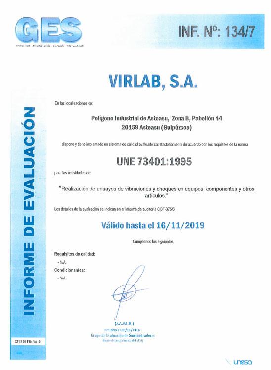 Acreditaciones UNE 73401:1995